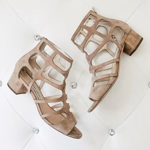 Authentic Jimmy Choo Ren Suede Caged Sandal Heels